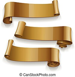 Realistic Gold Glossy vector ribbons set vector