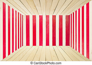 Colorful wood room on wide angle view - Red wood stripe...