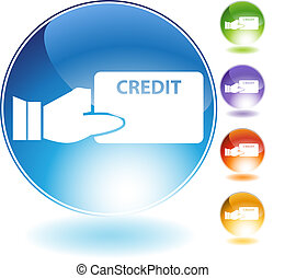 Credit Card Crystal Icon - Credit card crystal icon isolated...