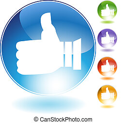 Thumbs Up Crystal Icon - Thumbs up crystal icon isolated on...