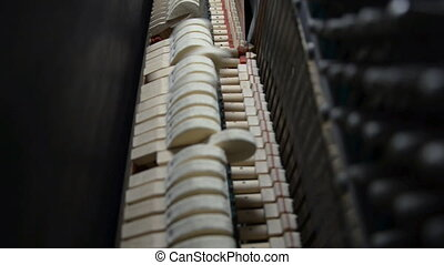 Inside the Piano Hammers striking strings