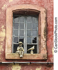Boy And Pigeon On Window Sill