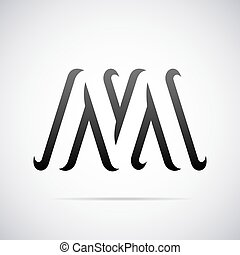 Vector logo for letter M. Design template