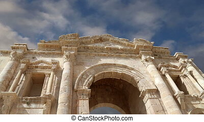 Arch of Hadrian in Gerasa Jerash-- was built to honor the...