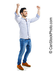 Successful young man with arms open, isolated over white...
