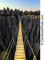 Tsingy rope bridge - Beautiful HDR view on the bridge over...