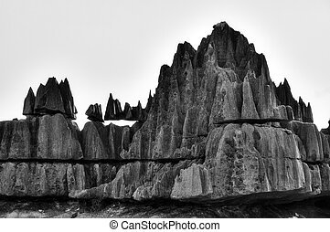 Tsingy rocks BW - Beautiful black and white view on the...