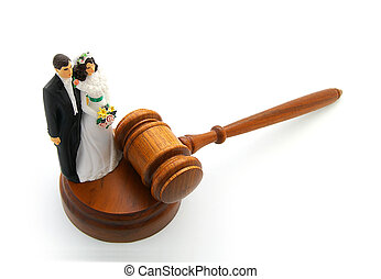 couple and gavel - Bride and groom cake topper couple with...