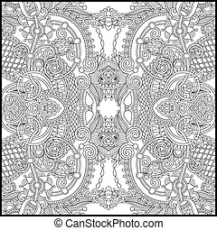 unique coloring book square page for adults - floral...