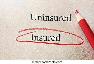 Insured red circle - Insured text circled, with Uninsured...