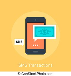 SMS Transactions - Vector illustration of SMS transactions...