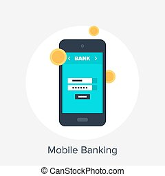 Mobile Banking - Vector illustration of mobile banking flat...