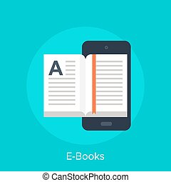 E-Books - Vector illustration of electronic books flat...