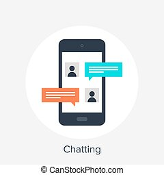 Chatting - Vector illustration of mobile chatting flat...