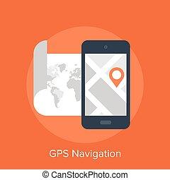 GPS Navigation - Vector illustration of GPS navigation flat...