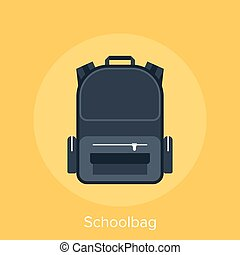 schoolbag - Abstract vector illustration of schoolbag flat...