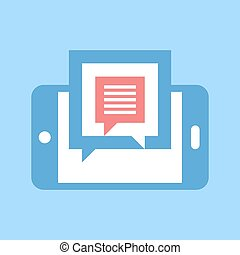 chatting - Abstract vector illustration of chatting flat...