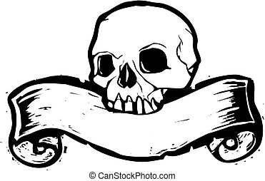 Banner Skull 2 - Pirate Skill with woodcut banner beneath