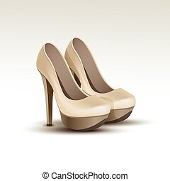 Vector Woman Fashion Shoes on High Heels