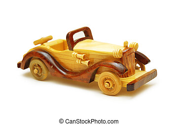 Wooden model of retro car isolated on white
