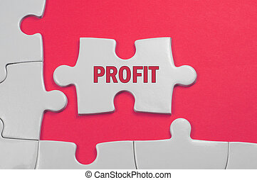 Profit Text - Business Concept - Profit word on white puzzle...