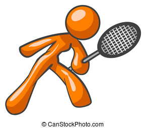 Orange Woman Tennis Racket - An orange woman with a tennis...
