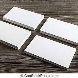 Set of business cards - Four stacks of blank business cards...