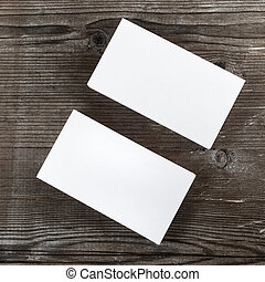 Blank business cards - Two stacks of blank business cards on...