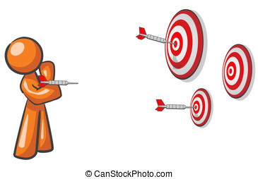 Design Mascot Aiming Multiple Targets - A design mascot...