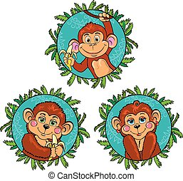 Funny monkey with a banana in his hand. Vector set