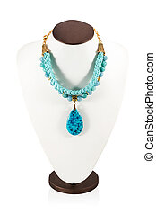 Manikin with necklace - Blue leather necklace handmade on...