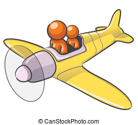 Design Mascot Airplane - A design mascot flying an airplane.