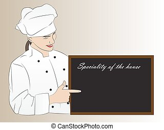 Woman chef presenting speciality of the house