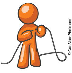 Design Mascot Tying up Loose ends - A design mascot fixing a...