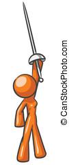 Design Mascot Woman Sword