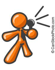 Orange Man Speaking to the Crowds - An orange man speaking...