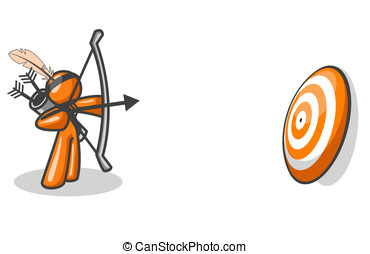 Orange Man Aiming at Target - An orange man taking aim to...