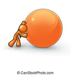Orange Man Rolling a Large Ball - An orange man pushing a...