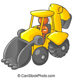 Under Construction Orange Man Driving Backhoe - An orange...