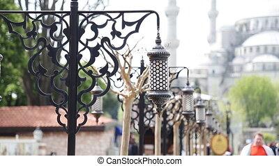 Old Ottoman Lamp, Sultanahmet Square, Istanbul TURKEY -...