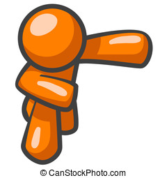 Orange Man Taking Bow - An orange man taking a bow after a...