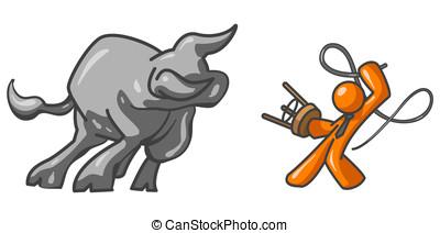 Orange Man Bull Tamer - An orange man taming a very large...
