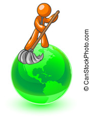 Orange Man Cleaning the Earth - An orange man on top of the...