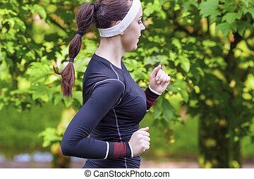 Happy Smiling Caucasian Sportwoman Having Her Regular...