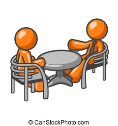 Orange Man Consultation - Two orange men at a table...