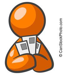 Orange Man Coupons - An orange man looking at cards,...