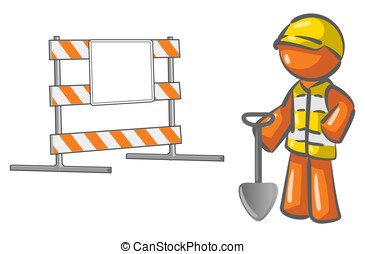 Under Construction Orange Man Roadblock
