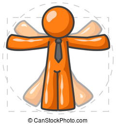 Orange Man DaVinci - An orange man showing off his body in...