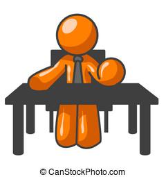 オレンジ, 人, テーブル