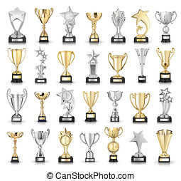 Set of golden and silver trophies. Isolated on white...